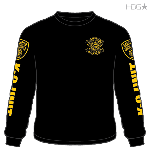 CDCR Police K-9 Unit Black/Gold Long Sleeve T-Shirt - HDG☆ Tactical