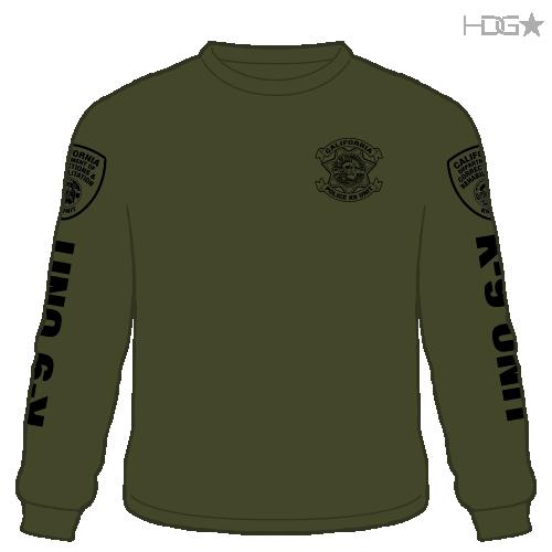 Cdcr Police K 9 Unit Od Green Black Long Sleeve T Shirt