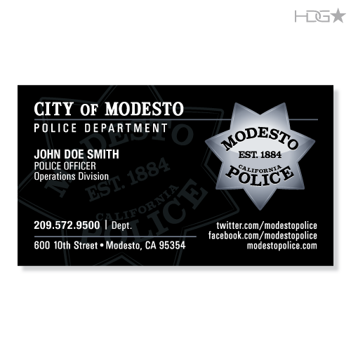 modesto police department business cards
