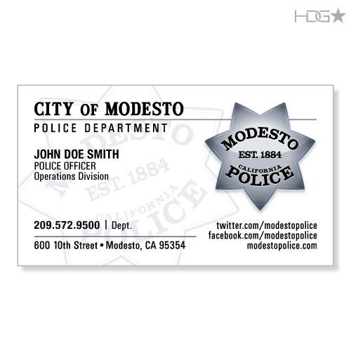 Modesto police department business cards hdg tactical for Police business card