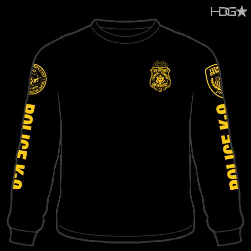 Federal Reserve Police K 9 Unit Black Gold Long Sleeve T