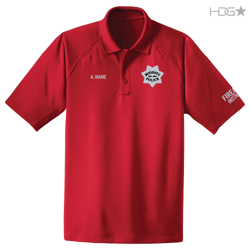 Modesto police range instructor red polo hdg tactical for Embroidered police polo shirts