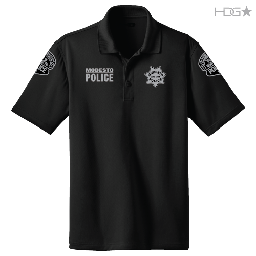 Modesto police officer black polo hdg tactical for Embroidered police polo shirts