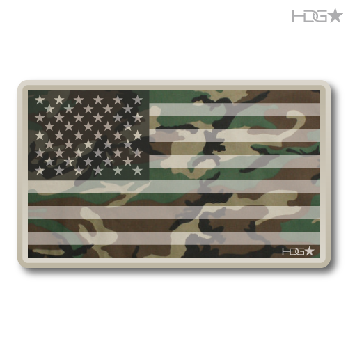 Us Flag Woodland Camo Decal Hdg★ Tactical