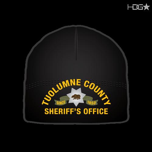 efe758e2673c4 Tuolumne County Sheriff Deputy Black Microfleece Beanie. ca-tuolumne-sheriff -black-beanie-front